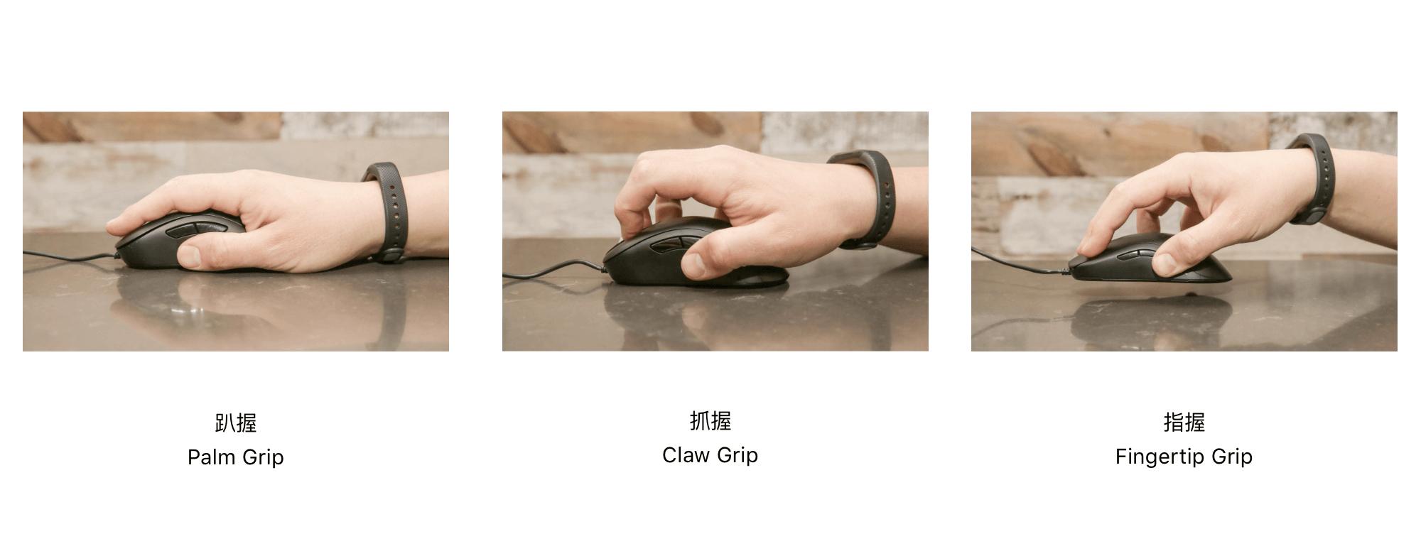 鼠标的三种握法(来源:CNET)