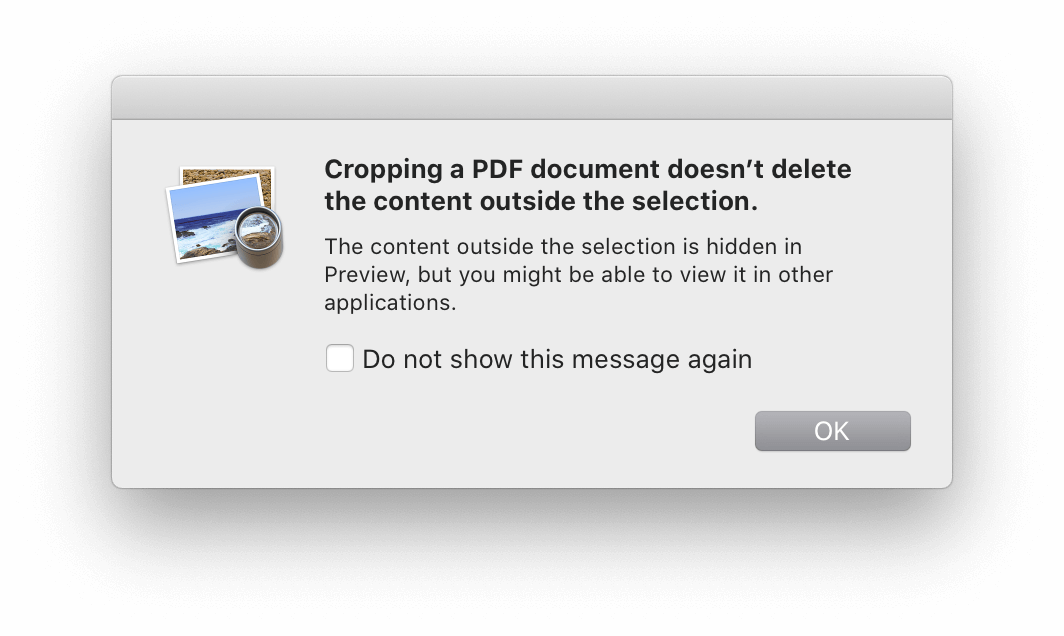 预览 app 在裁剪 PDF 时弹出的提示