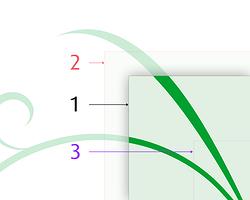 上图中,数字 1 指向页面的实际(经裁切后)边框,数字 2 指向为裁切而预留的出血边框。两者之间的部分会在印刷后的裁切流程被切掉。(来源:维基百科)