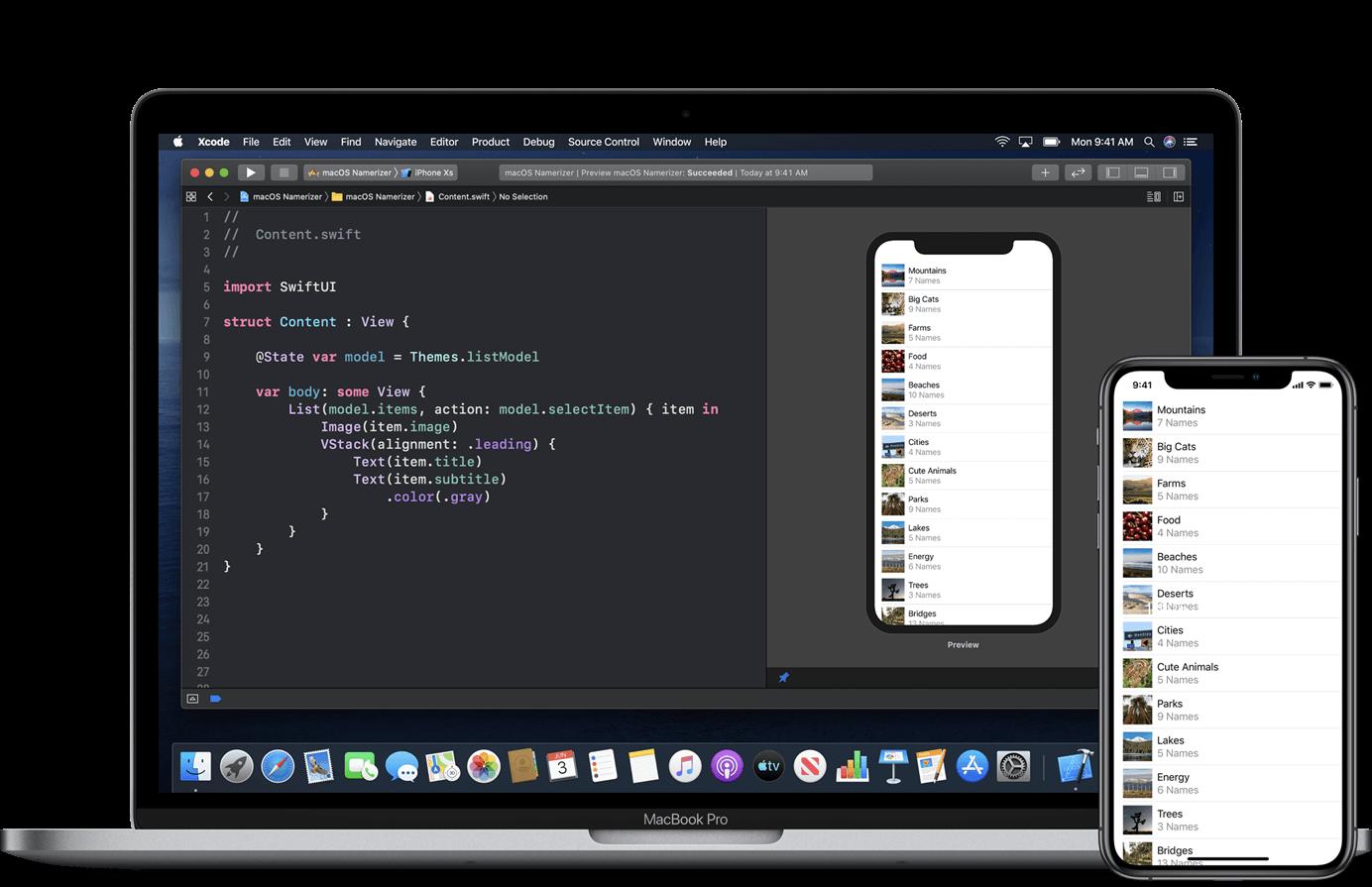 采用声明式界面语法的 Swift UI(来源:苹果)