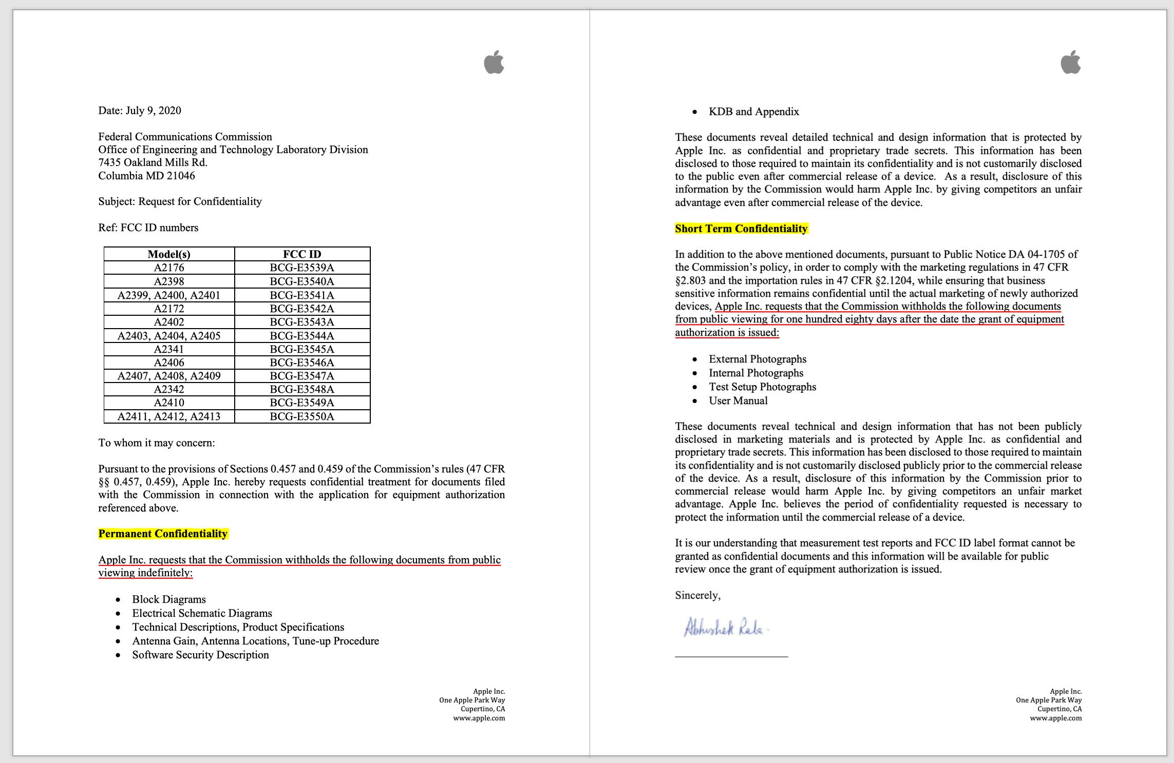 iPhone 12 Pro 的保密申请