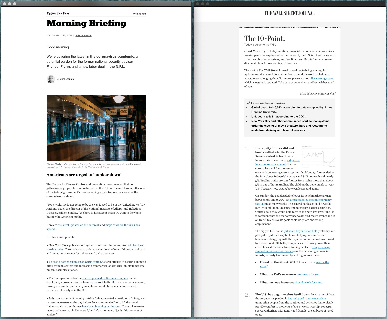 《纽约时报》和《华尔街日报》的每日简报邮件