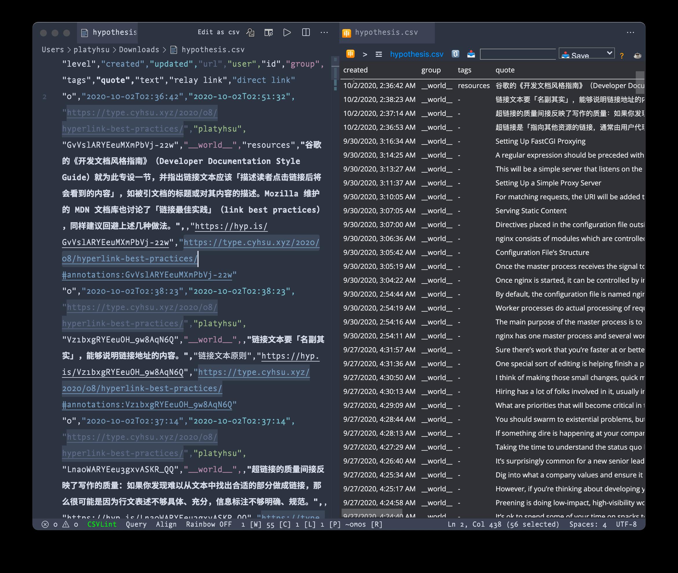 Facet 导出的 CSV 格式批注数据